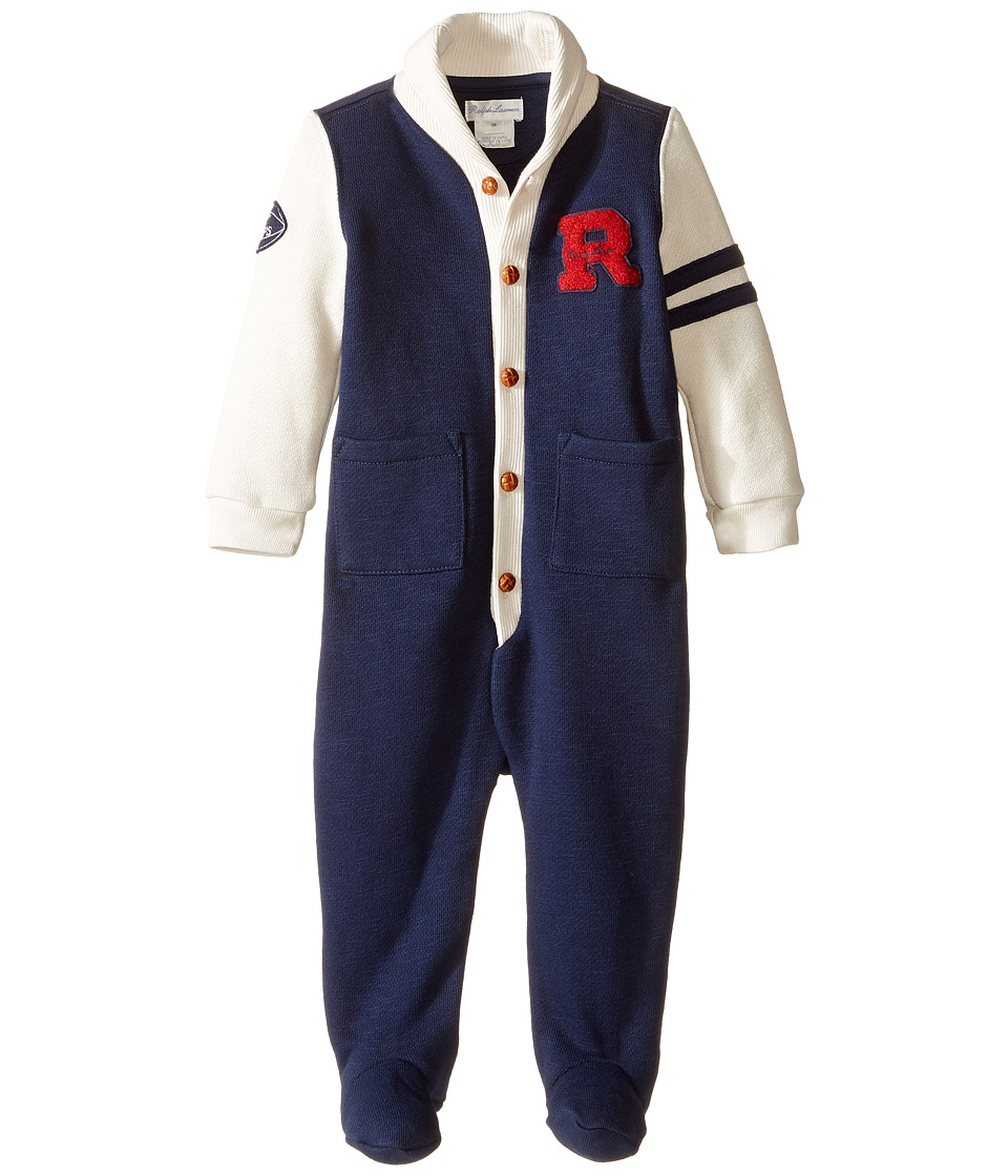 Ralph Lauren Baby - Fleece Shawl One-Piece Coveralls (Infant) (Oxford Navy/Multi) Boy's Overalls One Piece