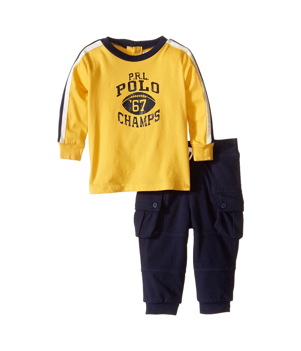 Ralph Lauren Baby - Jersey Graphic Pants Set (Infant) (Gold Bugle) Boy's Active Sets