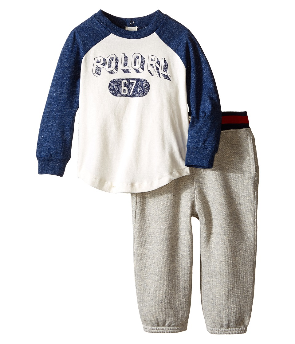 Ralph Lauren Baby - Jersey BBall Pants Set (Infant) (Antique Cream) Boy's Pajama Sets