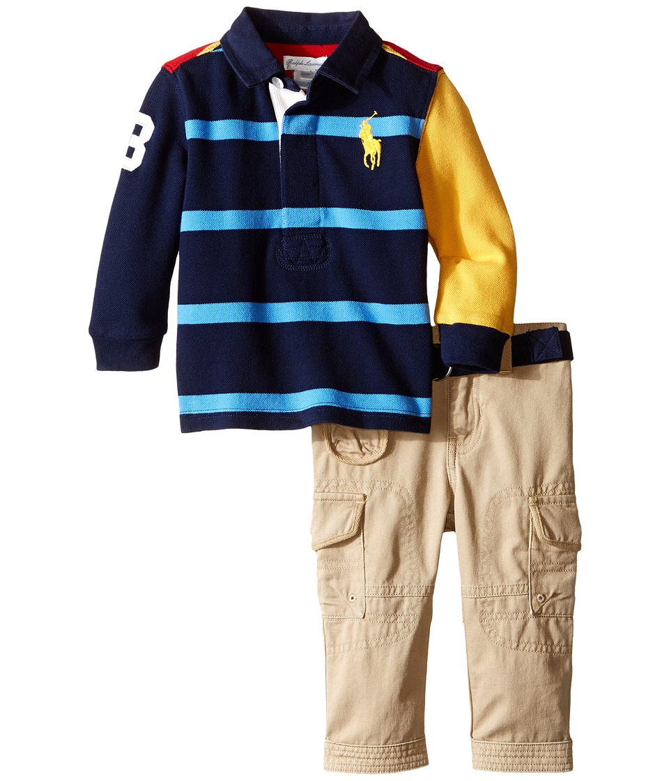 Ralph Lauren Baby - Cotton Jersey Rugby Pants Set (Infant) (Classic Wine/Multi) Boy's Pajama Sets