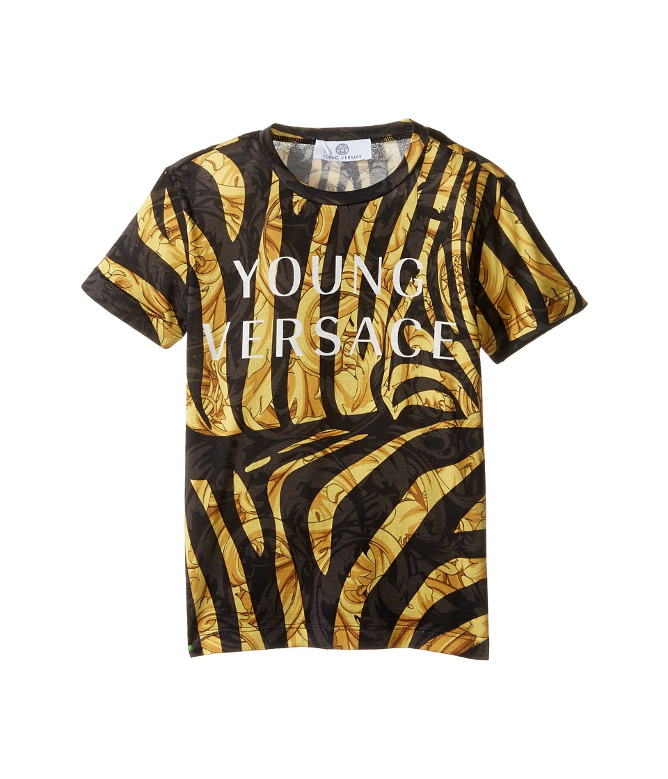 Versace Kids - Short Sleeve Logo and Zebra Print Tee (Toddler/Little Kids) (Black Gold) Boy's T Shirt