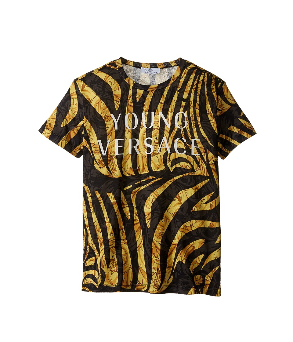 Versace Kids Short Sleeve Logo and Zebra Print Tee (Big Kids) (Black Gold) Boy
