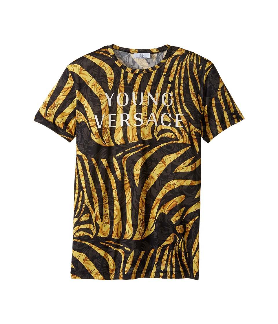 Versace Kids - Short Sleeve Logo and Zebra Print Tee (Big Kids) (Black Gold) Boy's T Shirt