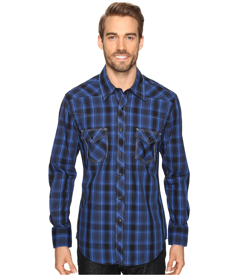 Rock and Roll Cowboy - Long Sleeve Snap B2S8425 (Blue) Men's Clothing