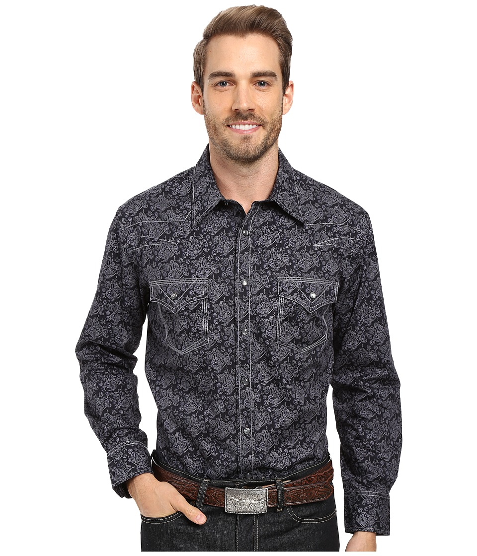 Rock and Roll Cowboy - Long Sleeve Snap B2S8413 (Black) Men's Clothing