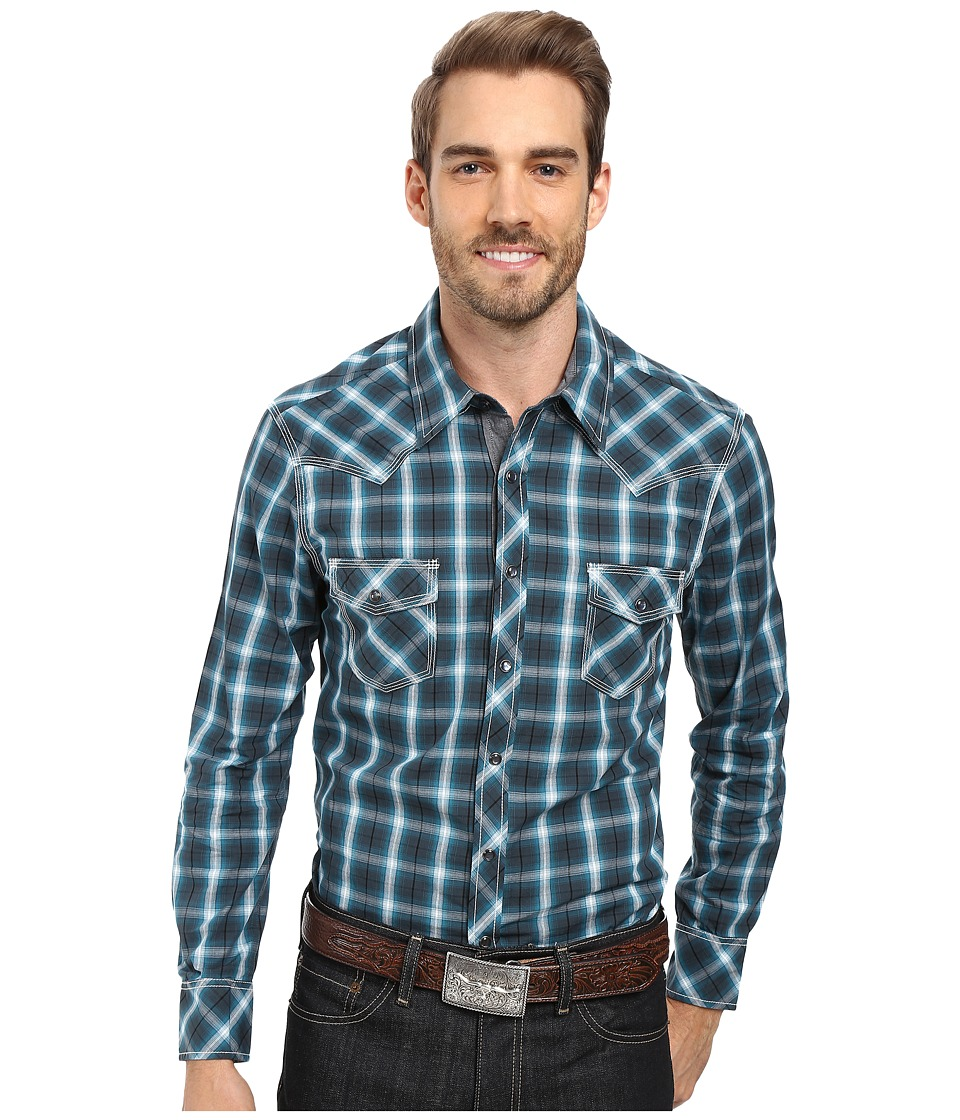 Rock and Roll Cowboy - Long Sleeve Snap B2S8411 (Turquoise) Men's Clothing