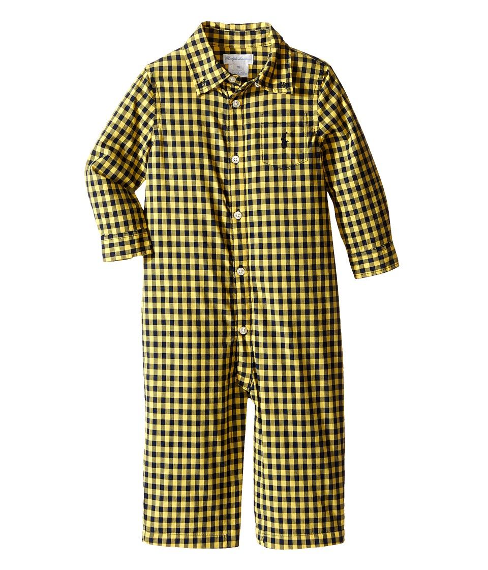 Ralph Lauren Baby - Poplin Gingham One-Piece Coveralls (Infant) (Yellow/Navy) Boy's Overalls One Piece