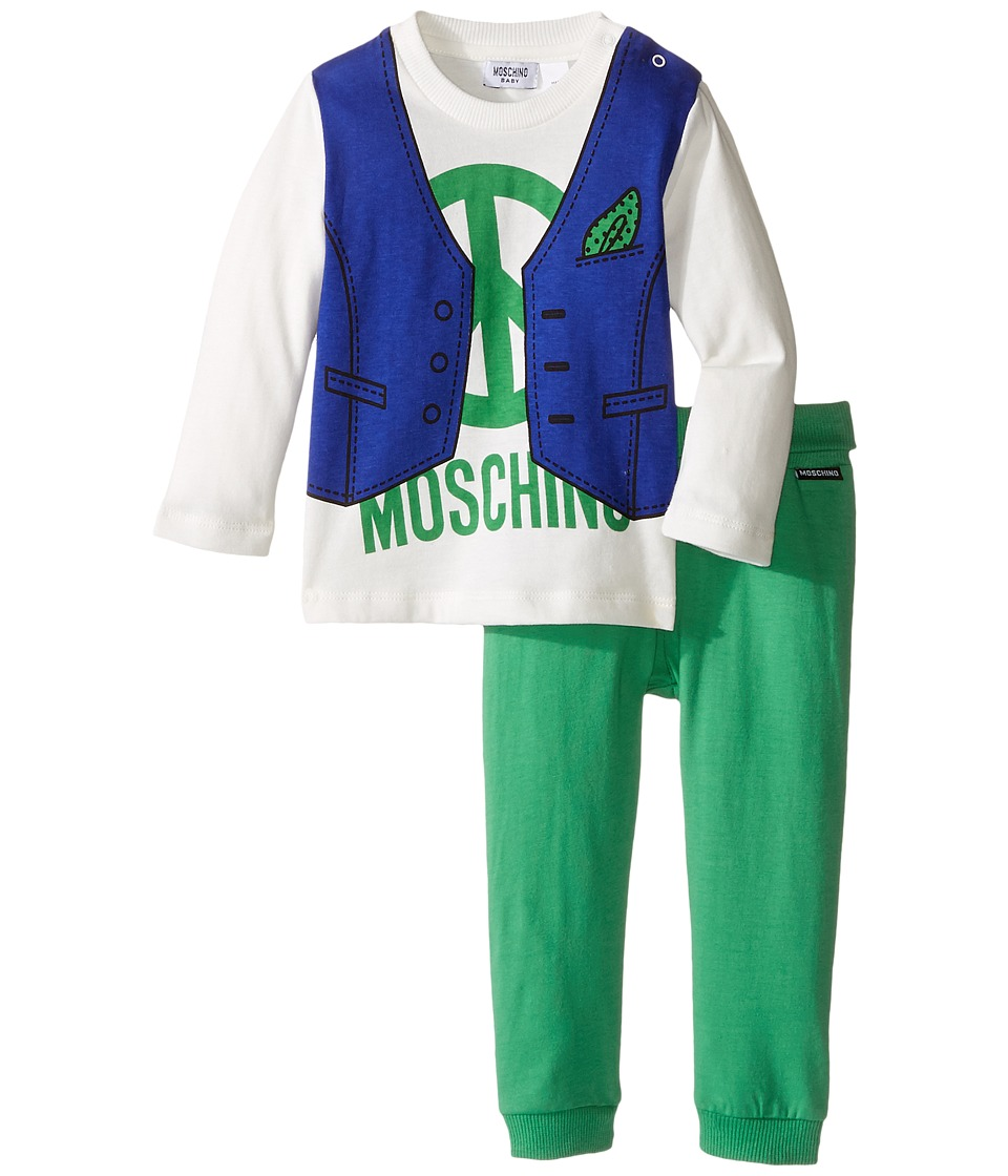 Moschino Kids - Two-Piece Set/Vest Print Tee + Leggings (Infant) (White/Green) Boy's Active Sets