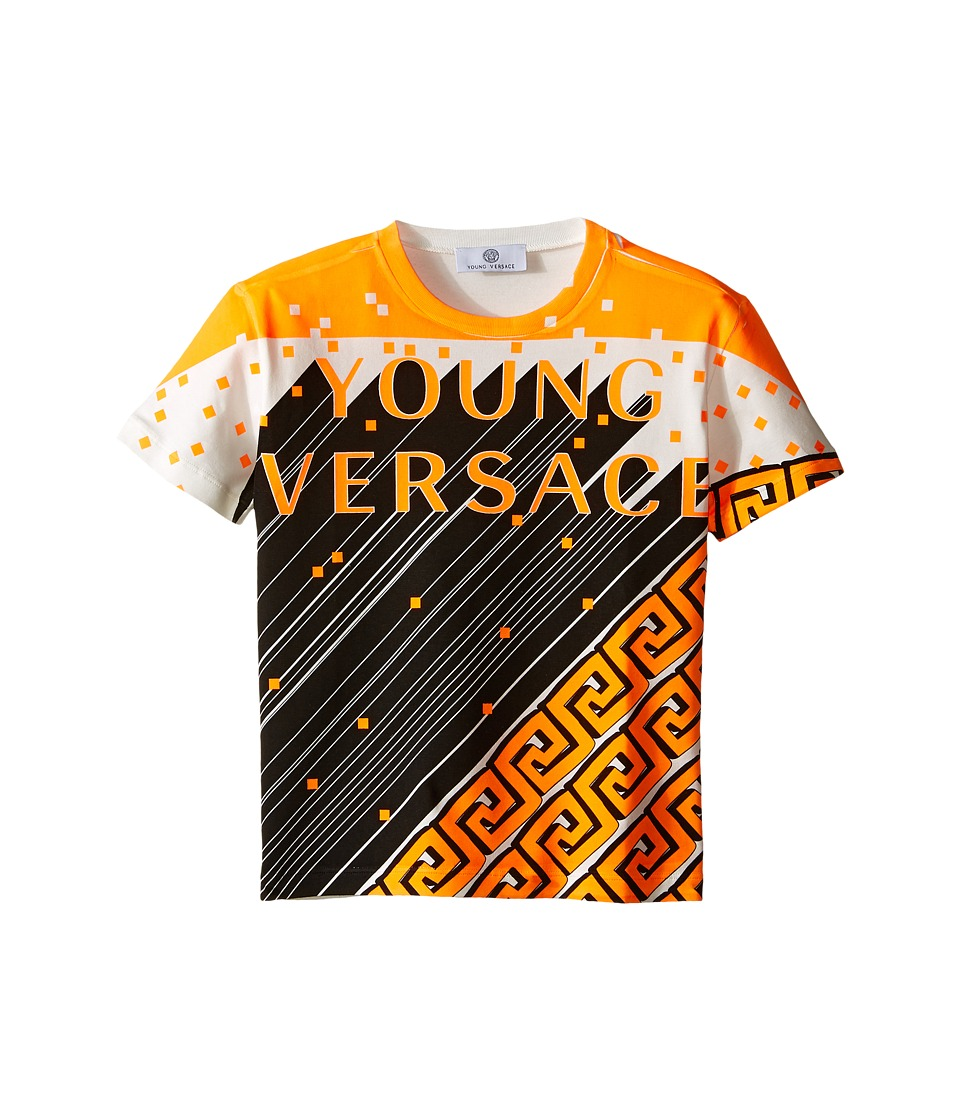 Versace Kids - Short Sleeve Logo Greche Tee (Toddler/Little Kids) (White/Orange) Boy's T Shirt