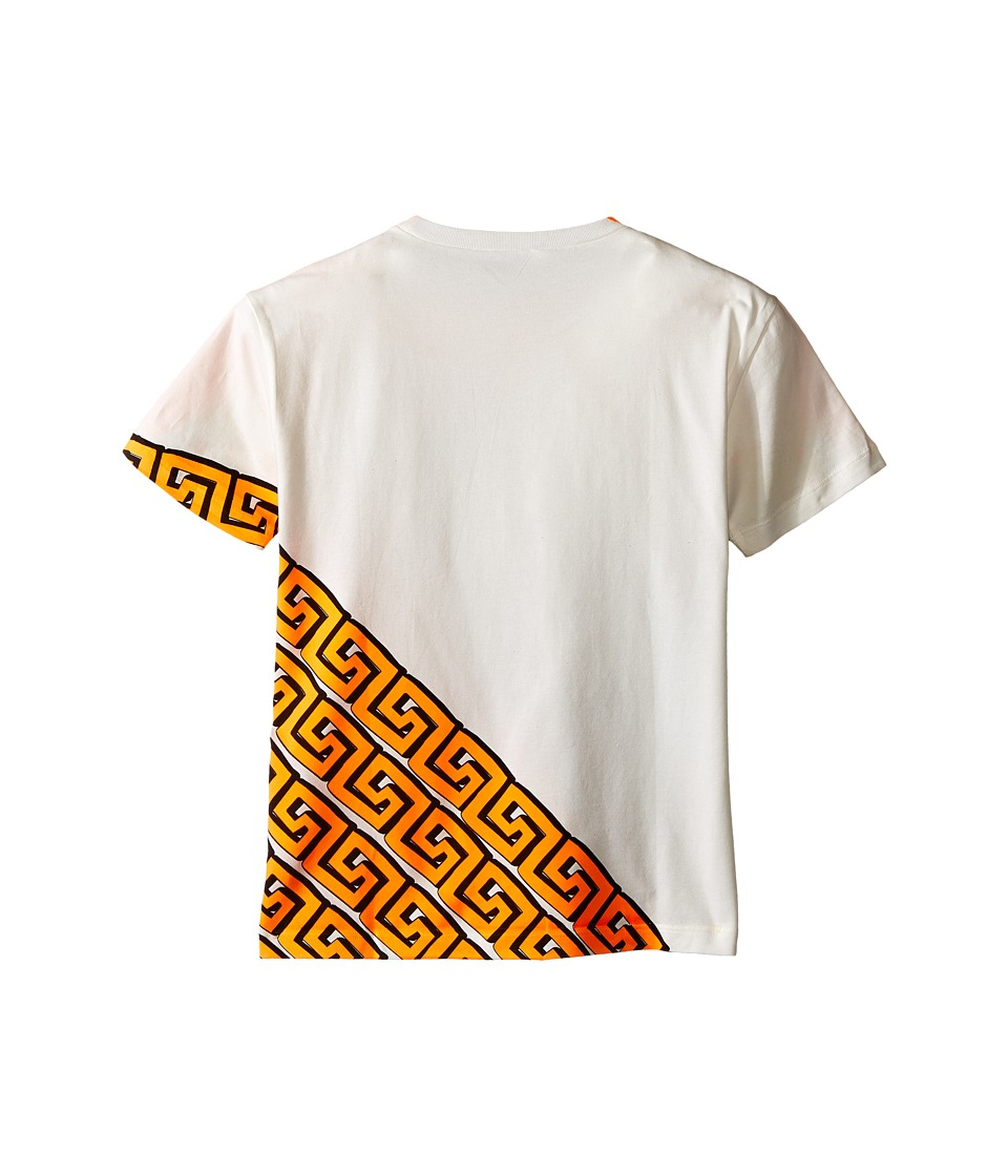 Versace Kids Short Sleeve Logo Greche Tee (Big Kids) (White/Orange) Boy