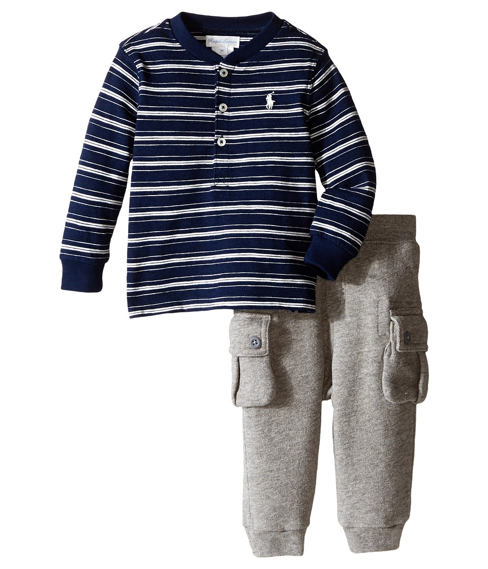 Ralph Lauren Baby - Cotton Henley Fleece Set (Infant) (Navy/Multi) Boy's Active Sets