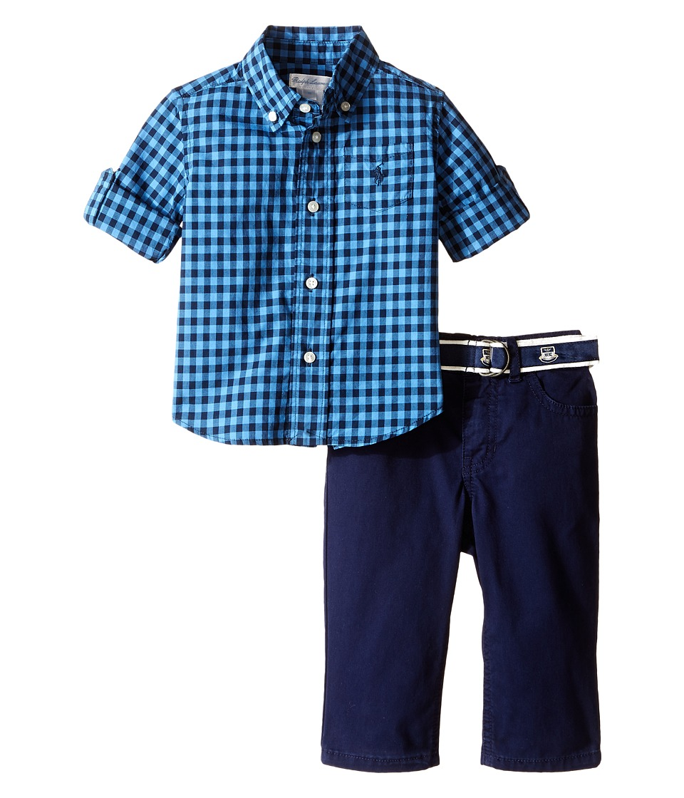 Ralph Lauren Baby - Poplin Gingham Pants Set (Infant) (Light Blue/Navy) Boy's Active Sets