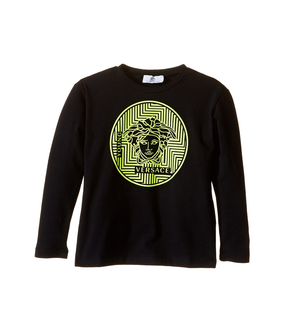 Versace Kids - Long Sleeve Tee Medusa Gommata Logo (Toddler/Little Kids) (Black/Lime) Boy's T Shirt