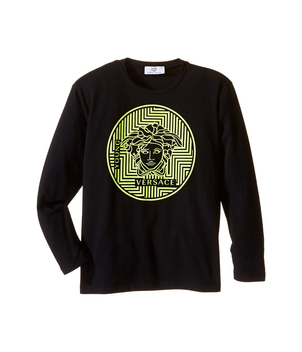 Versace Kids - Long Sleeve Tee Medusa Gommata Logo (Big Kids) (Black/Lime) Boy's T Shirt