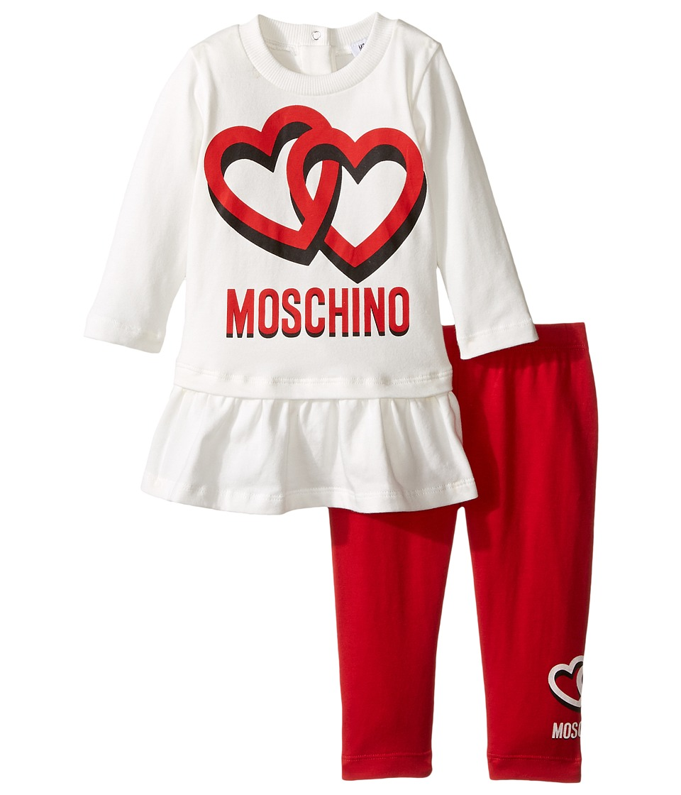 Moschino Kids - Logo Tee w/ Flounce and Leggings Set (Infant/Toddler) (White/Red) Girl's Active Sets