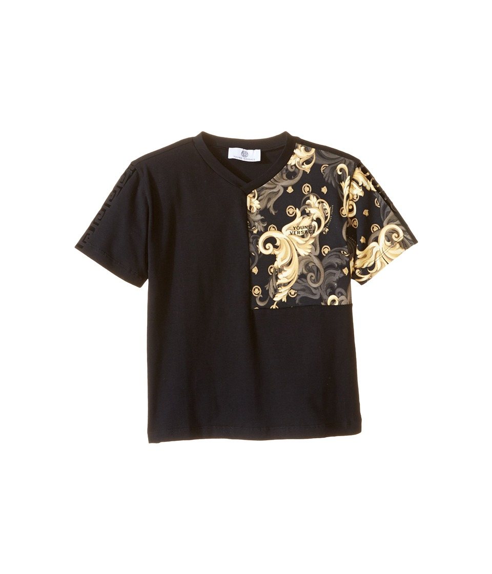 Versace Kids - Short Sleeve T-Shirt w/ Partial Barocco Print (Toddler/Little Kids) (Black/Multi) Boy's T Shirt