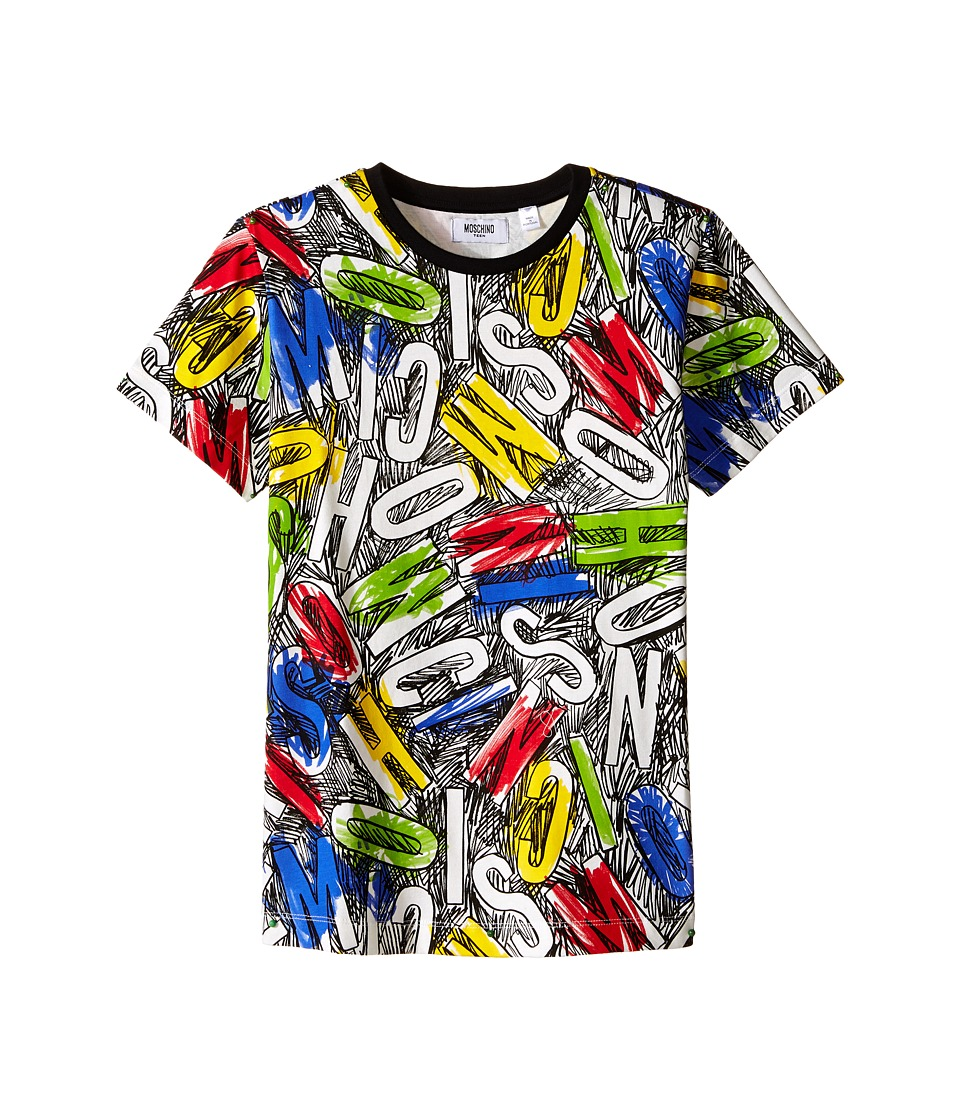 Moschino Kids - Short Sleeve All Over Printed Tee Shirt (Big Kids) (Letters) Boy's T Shirt