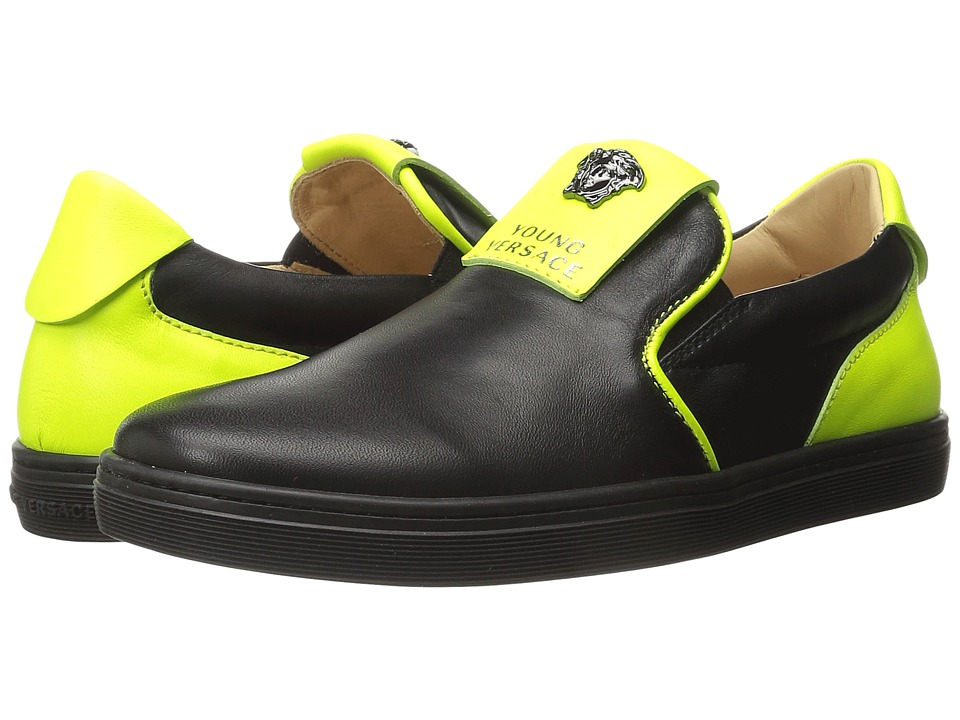 Versace Kids - Slip-On Sneakers w/ Medusa Logo Detail (Little Kid/Big Kid) (Black/Green) Boys Shoes