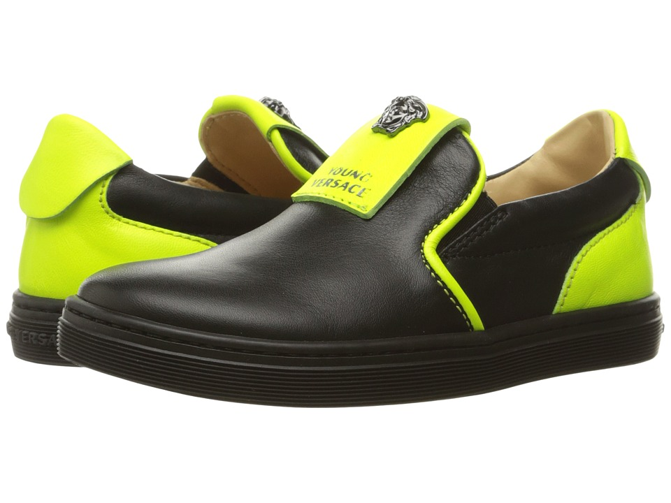 Versace Kids - Slip-On Sneakers w/ Medusa Logo Detail (Little Kid) (Black/Green) Boys Shoes