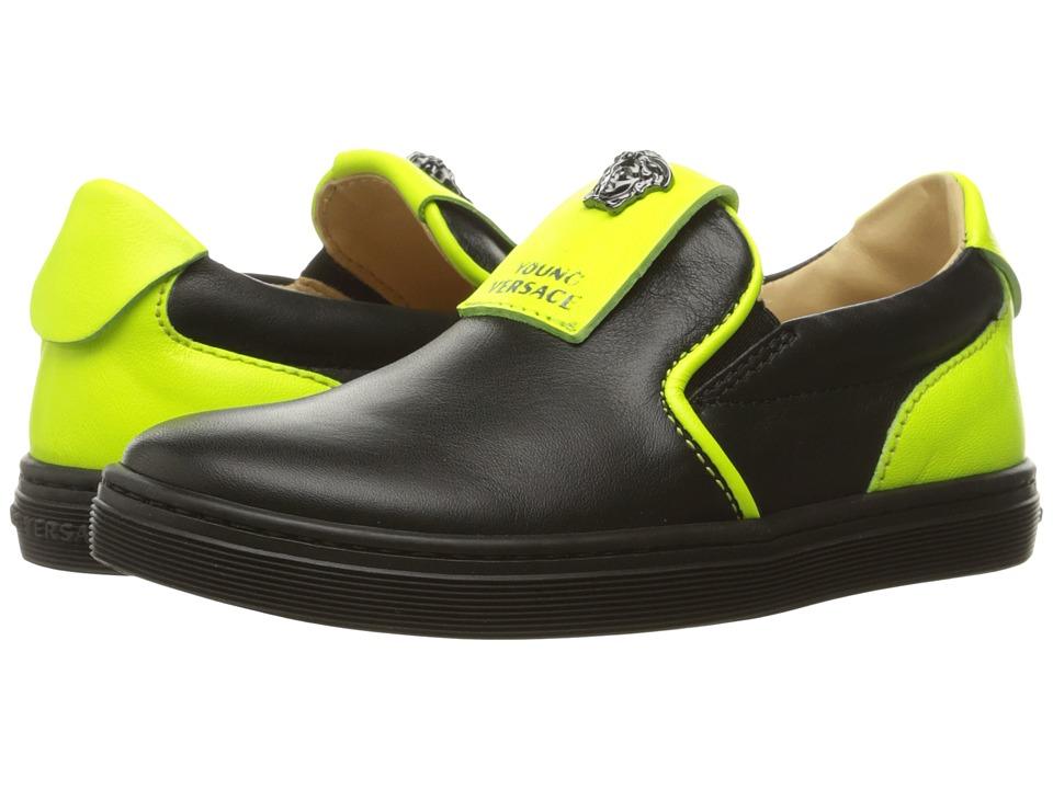 Versace Kids - Slip-On Sneakers w/ Medusa Logo Detail (Little Kid) (Black/Green) Boys Shoes