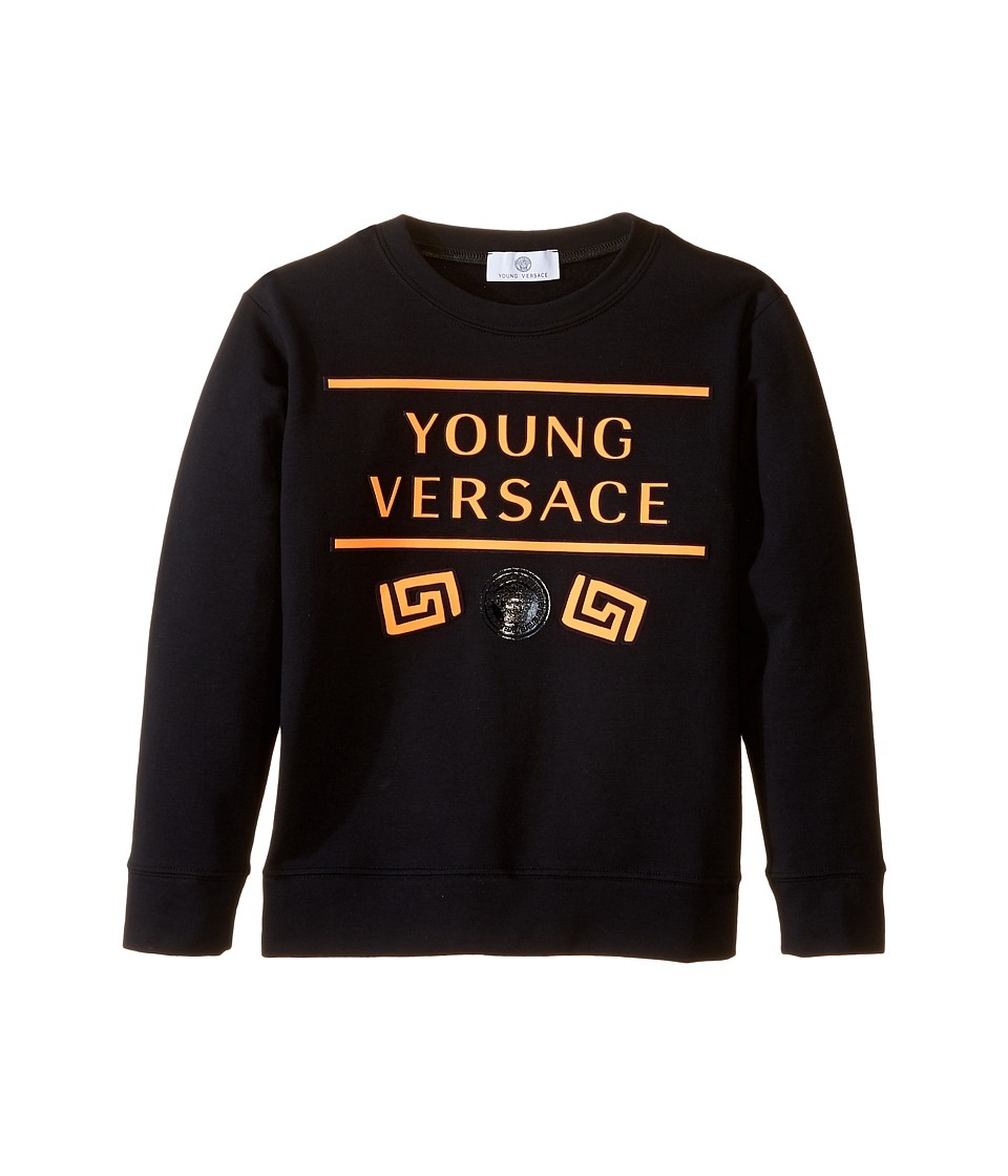 Versace Kids - Sweat Top w/ Neon Logo Design (Big Kids) (Black/Orange) Boy's Clothing