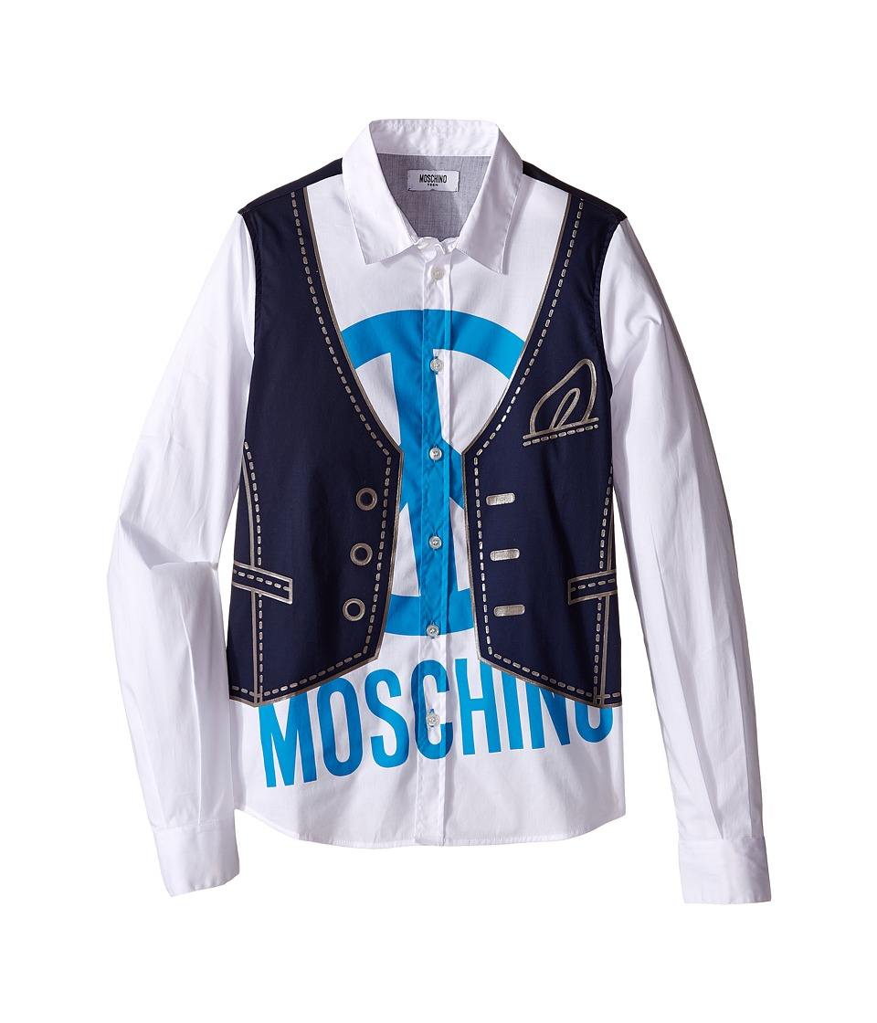 Moschino Kids - Printed Shirt (Big Kids) (Blue Navy) Boy's Clothing