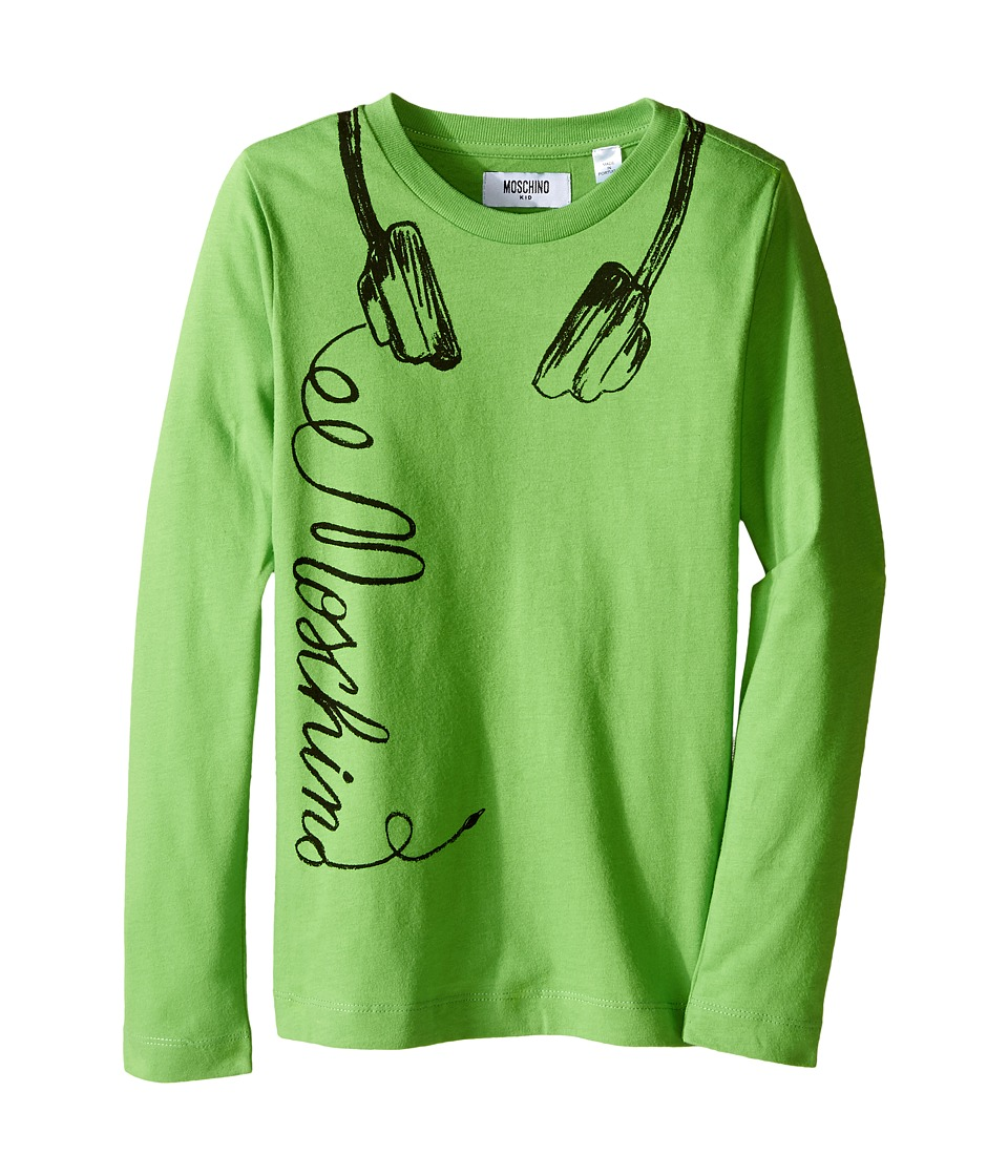 Moschino Kids - Long Sleeve Music Tee Shirt (Little Kids/Big Kids) (Green) Boy's T Shirt