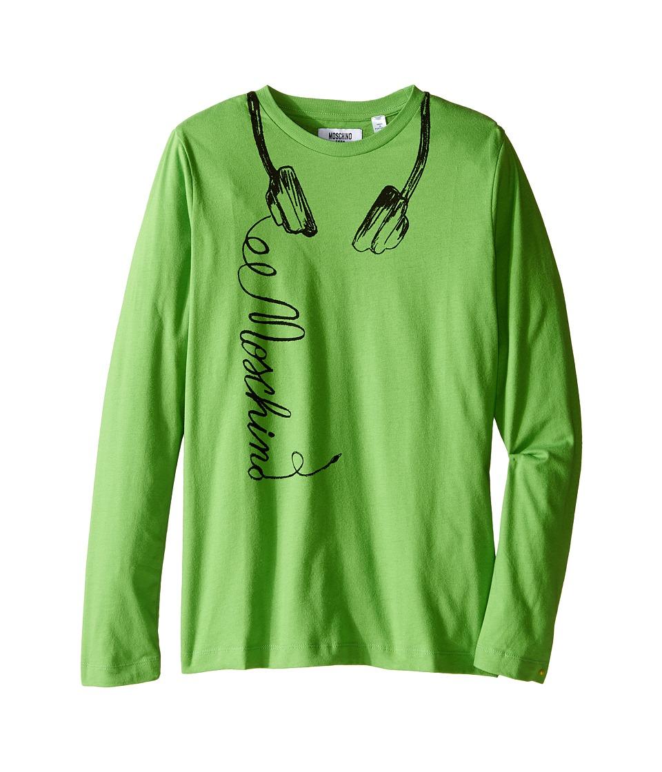Moschino Kids - Long Sleeve Music Tee Shirt (Big Kids) (Green) Boy's T Shirt