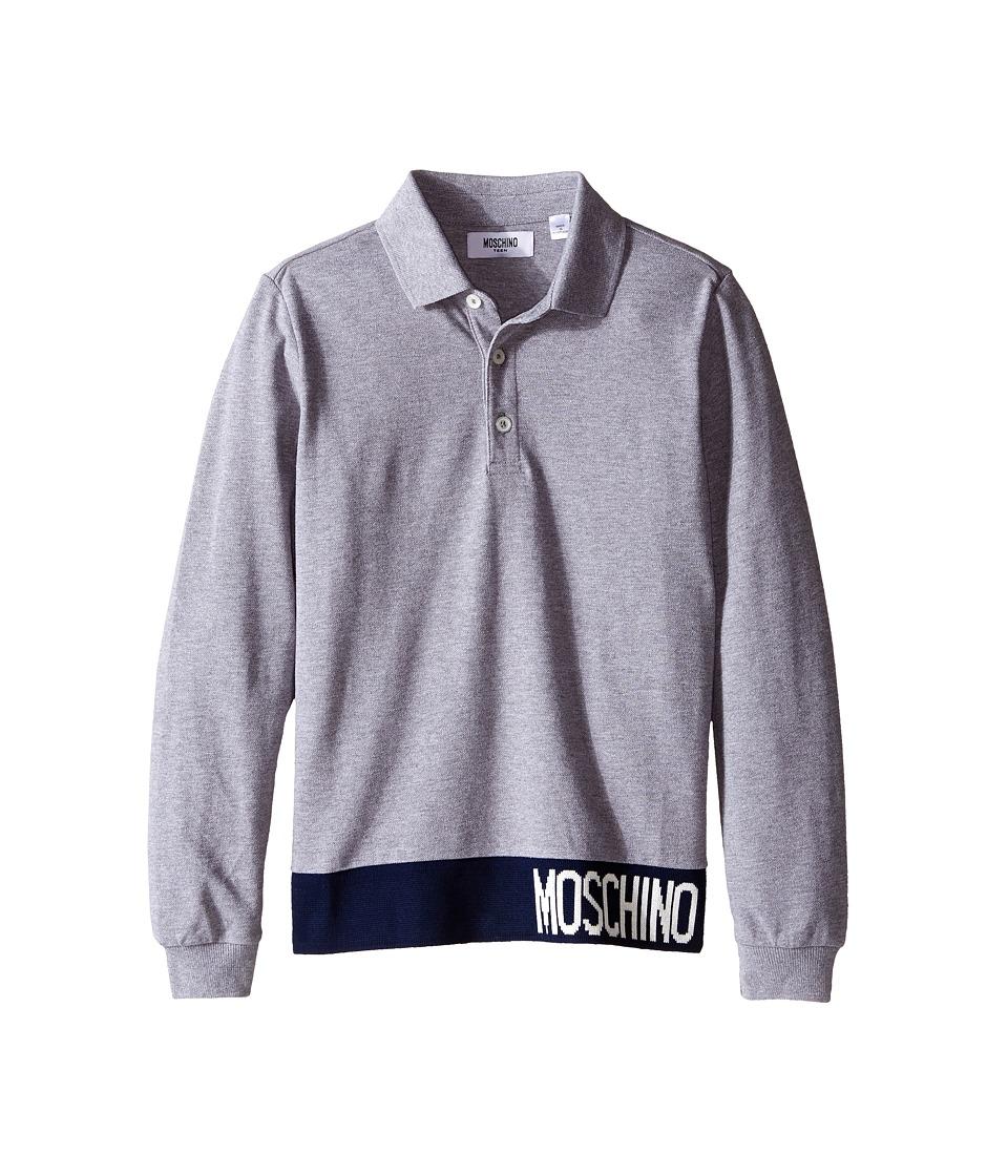 Moschino Kids - Long Sleeve Polo (Big Kids) (Grey) Boy's Long Sleeve Pullover