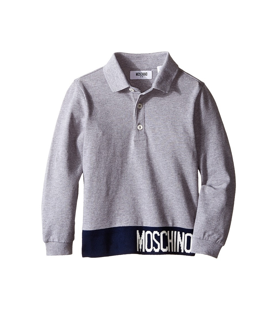 Moschino Kids - Long Sleeve Polo (Little Kids/Big Kids) (Grey) Boy's Long Sleeve Pullover