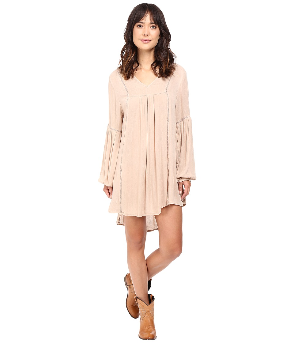 Rock and Roll Cowgirl - Long Sleeve Dress D4-8248 (Tan) Women's Dress