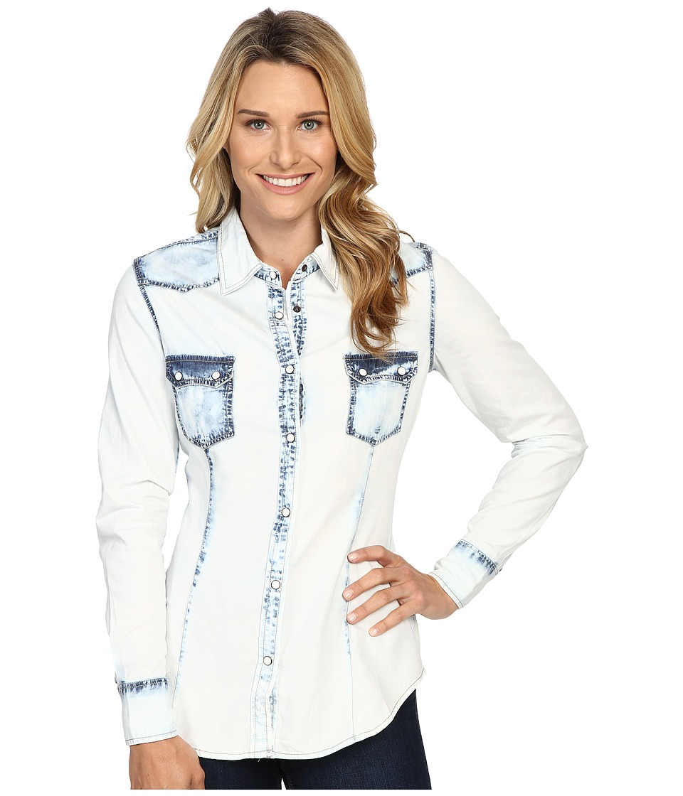 Rock and Roll Cowgirl - Long Sleeve Snap B4S8376 (Indigo) Women's Clothing