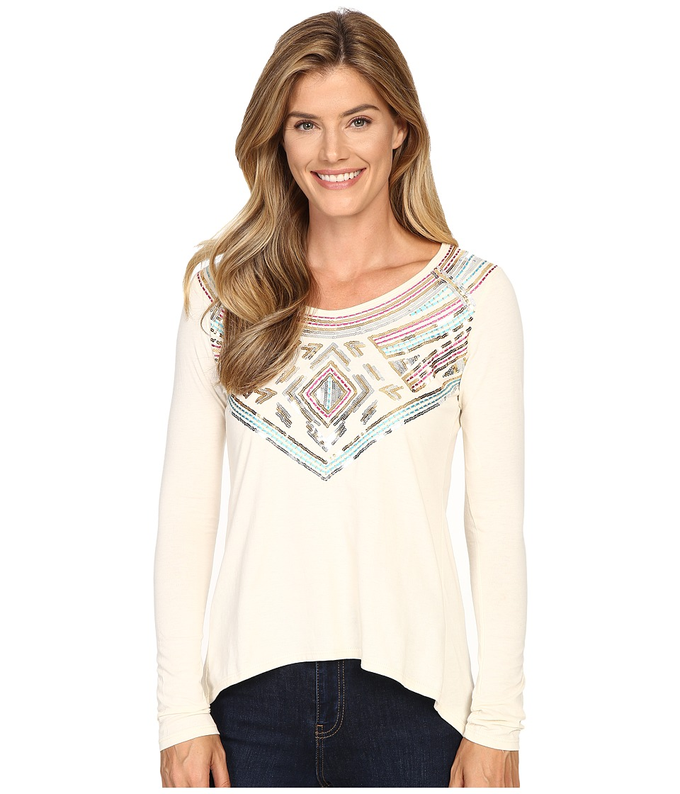 Rock and Roll Cowgirl - Long Sleeve Knit 48T8219 (Natural) Women's Clothing
