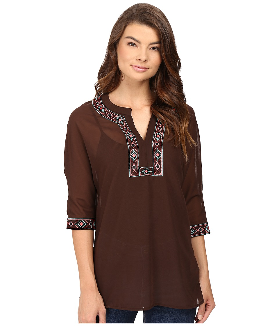 Rock and Roll Cowgirl - 3/4 Dolman Sleeve B4-8373 (Brown) Women's Clothing