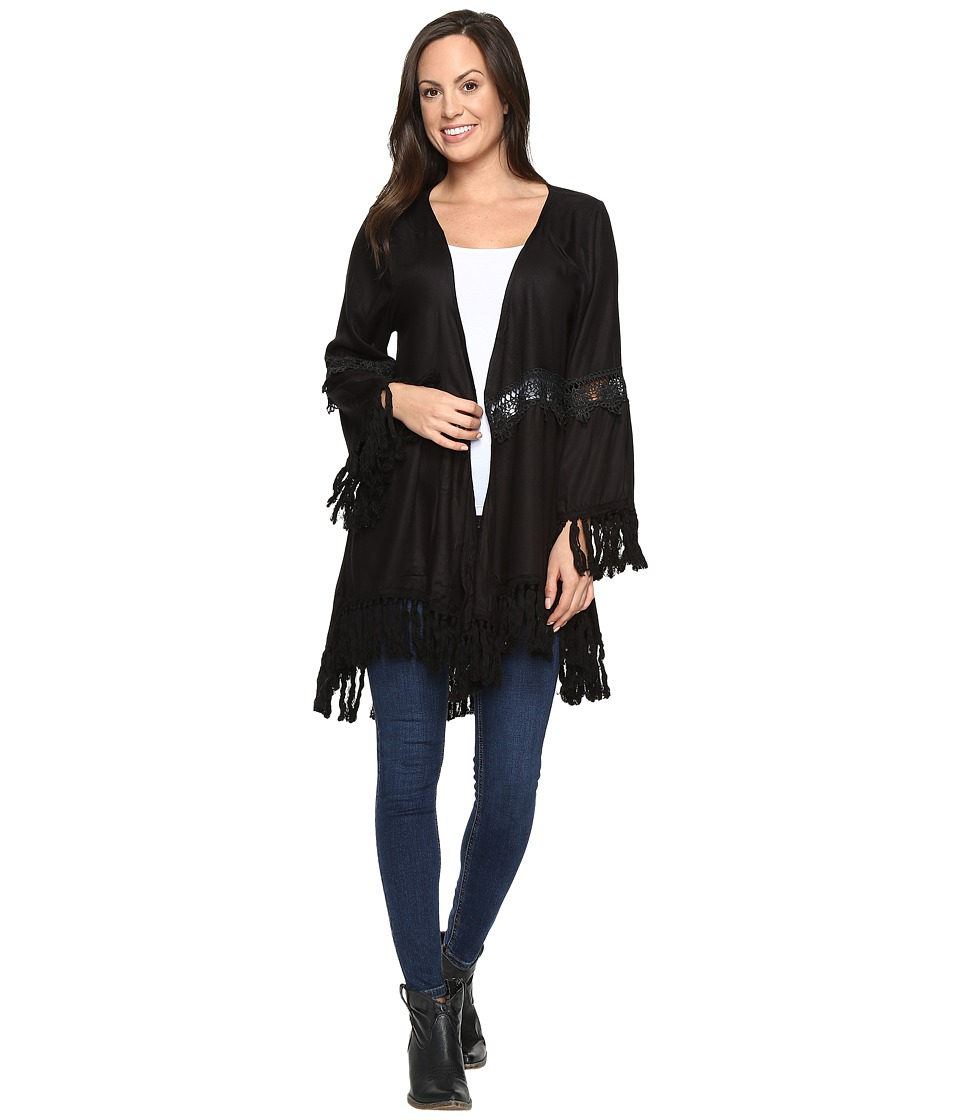 Rock and Roll Cowgirl - 3/4 Sleeve Top B4-8355 (Black) Women's Clothing