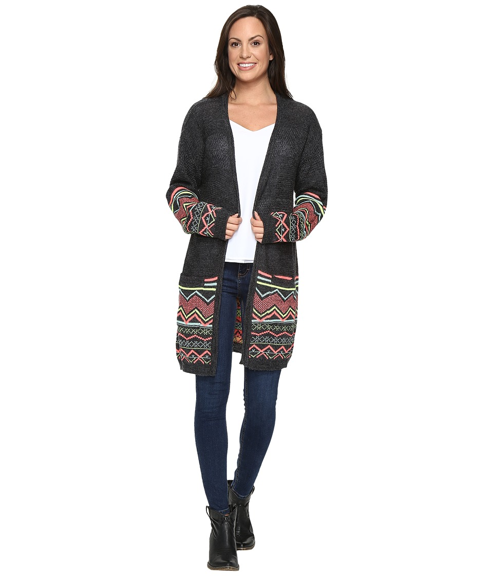 Rock and Roll Cowgirl - Long Sleeve Cardigan 46-8226 (Charcoal) Women's Sweater