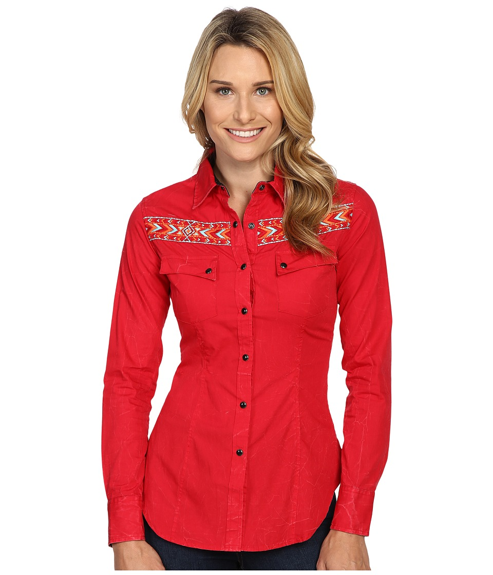 Rock and Roll Cowgirl - Long Sleeve Snap B4S8364 (Red) Women's Clothing