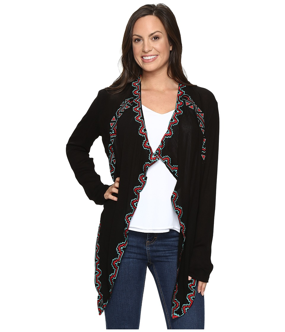 Rock and Roll Cowgirl - Long Sleeve Cardigan B4-6404 (Black) Women's Sweater