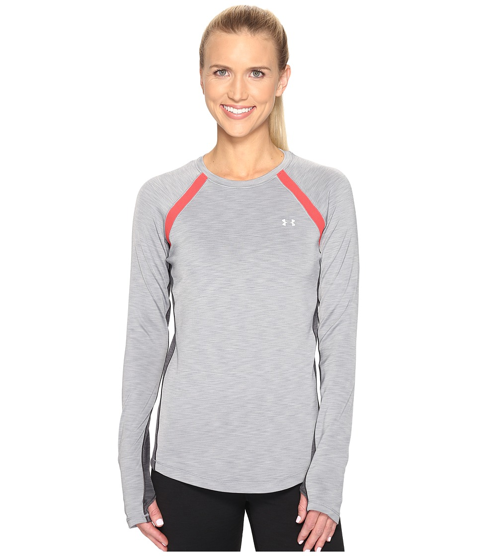 Under Armour - UA Coldgear(r) Armour Crew (True Gray Heather/Pomegranate) Women's Long Sleeve Pullover