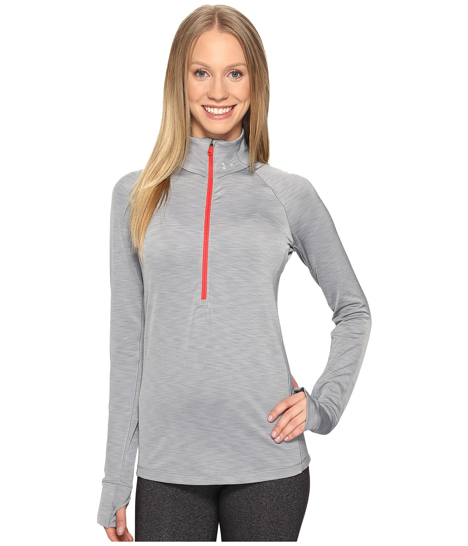 Under Armour - UA Coldgear(r) Armour 1/2 Zip (True Gray Heather/Carbon Heather) Women's T Shirt