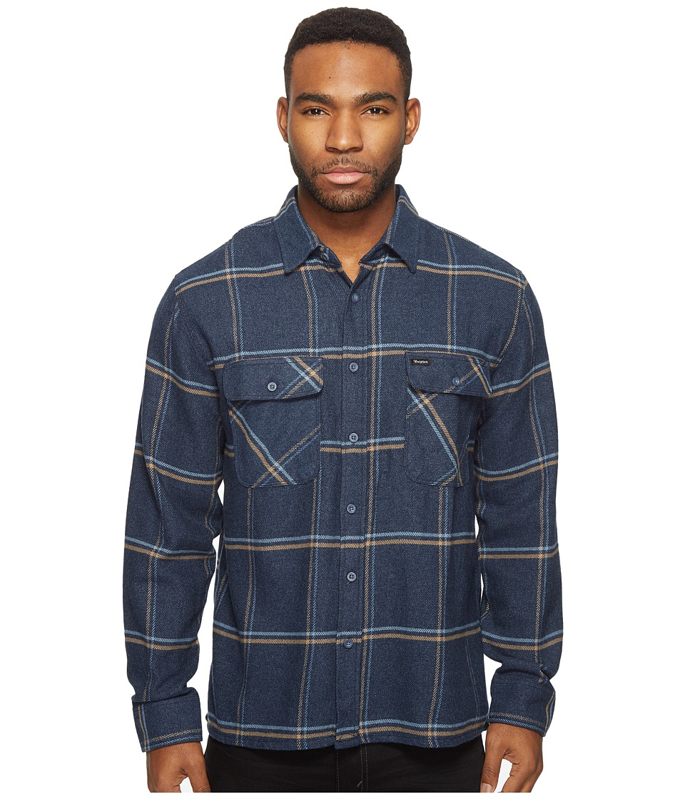 Brixton - Archie Long Sleeve Flannel (Navy) Men's Long Sleeve Button Up