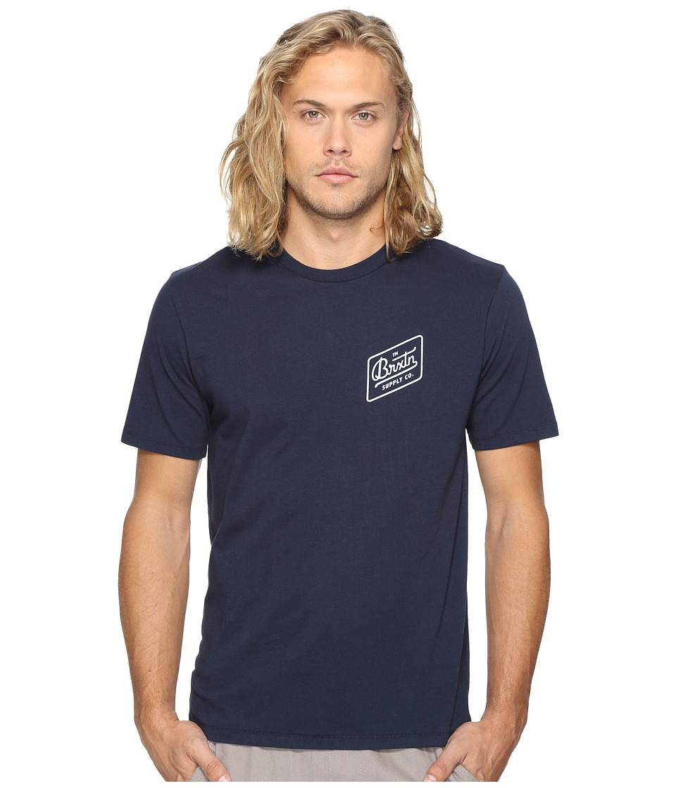 Brixton - Bedford Short Sleeve Premium Tee (Navy) Men's T Shirt