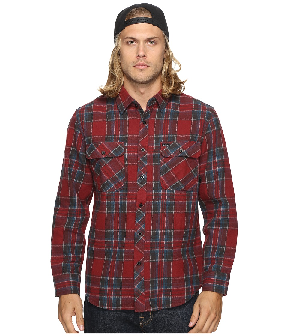 Brixton - Bowery Long Sleeve Flannel (Burgundy) Men's Long Sleeve Button Up