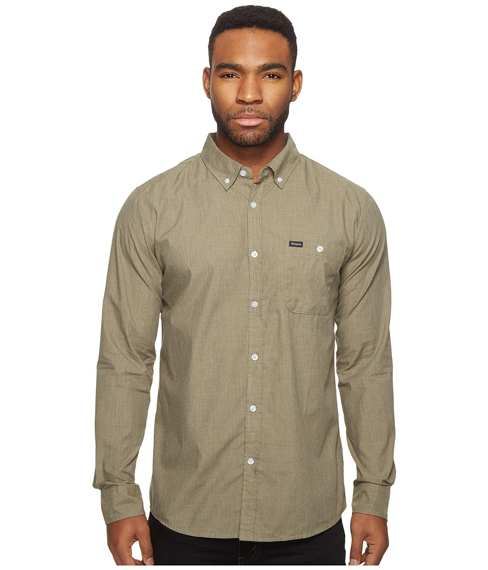 Brixton - Central Long Sleeve Woven (Olive) Men's Long Sleeve Button Up