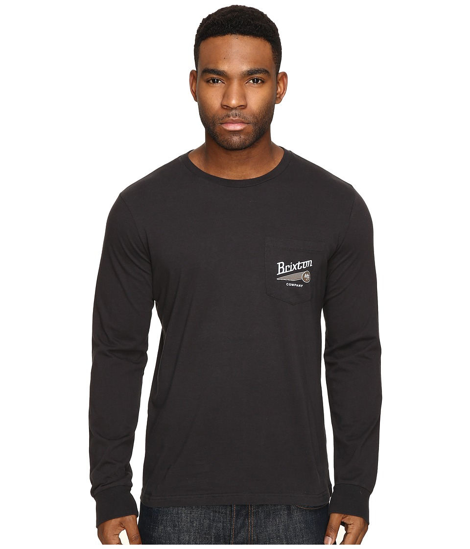 Brixton - Maverick Long Sleeve Pocket Tee (Washed Black) Men's T Shirt
