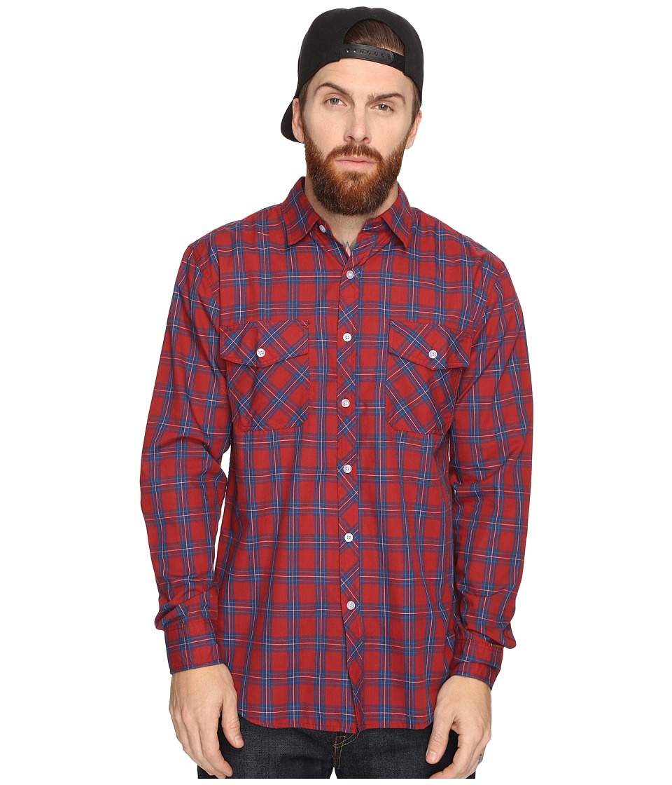 Brixton - Memphis Long Sleeve Woven (Burgundy/Navy) Men's Long Sleeve Button Up