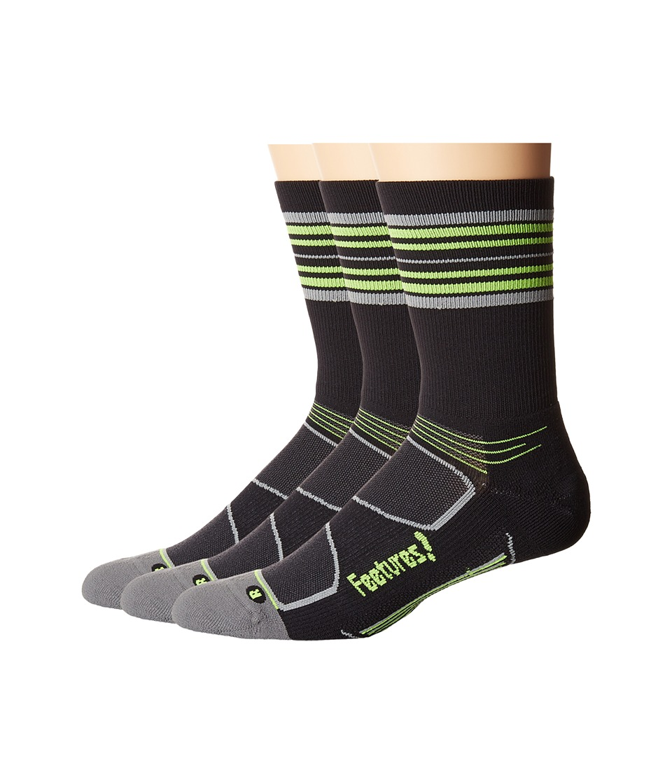 Feetures - Elite Light Cushion Mini Crew 3-Pair Pack (Black/Reflector Stripe) Crew Cut Socks Shoes