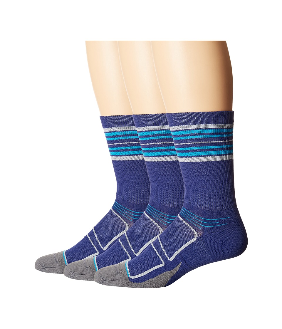 Feetures - Elite Light Cushion Mini Crew 3-Pair Pack (Navy/Hawaiian Blue Stripe) Crew Cut Socks Shoes
