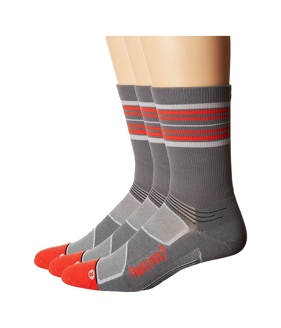 Feetures - Elite Light Cushion Mini Crew 3-Pair Pack (Graphite/Red Stripe) Crew Cut Socks Shoes