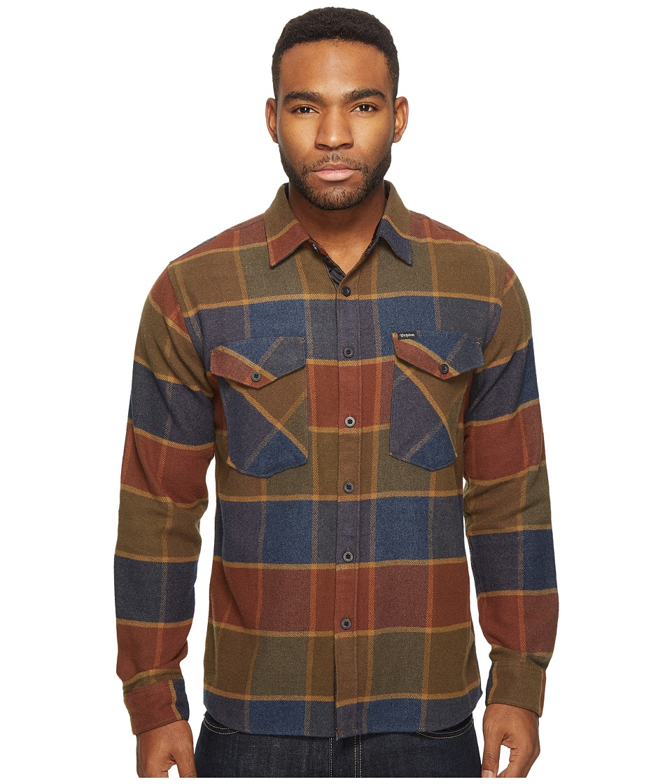 Brixton - Weldon Long Sleeve Flannel (Olive/Brown) Men's Long Sleeve Button Up